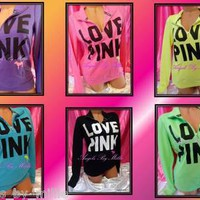 NEW Victoria's Secret PINK Lightweight Campus Half Zip Neon Crew Sweat Shirt VS