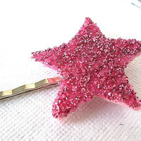 Sparkling Star - Glittered Hair Pin In Pink - Shabby Chic, Bright, Kawaii, Pretty, Cute, Girly, Bobb | Luulla