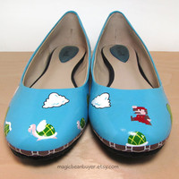Custom HandPainted Super Mario Flats by magicbeanbuyer on Etsy