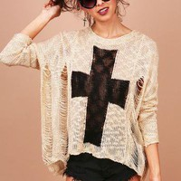 Tatter Cross Knit - Distressed Knits at Pinkice.com