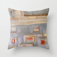 PiLLOW COVER - abstract painting - contemporary fine art - modern decor - silvery grey - rust