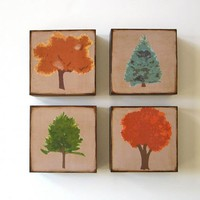Forest Of Trees Four Art Blocks Wood Brown Orange Red Green Blue Pine Maple Spruce Nature Natural Se | Luulla