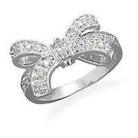 Sterling Silver Trendy CZ Gift Bow Ribbon Ring Size 5-9