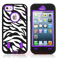 For iPhone 5 Black Zebra Hard Silicone Impact Phone Cover Case+Screen Protector
