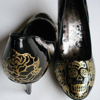 Hand Painted Shoes Day Of the Dead customize your by kezbirdie