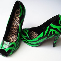 Hand Painted Heels Toxic Zebra Peep Toe Shoes UK6/US by kezbirdie