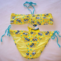SpongeBob Face Ladies Yellow 2 Piece Bikini Size XL New
