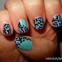 Colorful Leopard Nails by NailsByKaty on Etsy