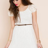 Pleated Crochet Dress in Clothes Dresses Day at Nasty Gal