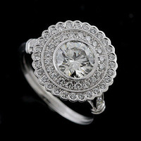 Art Deco Halo Style Platinum Pave Diamond Engagement Ring Mounting