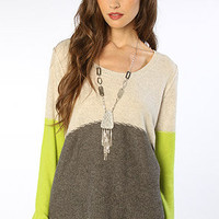 Free People Knit Sweater Crewneck Knit Pullover Gray Combo - Karmaloop
