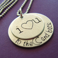 I Love You To the Moon and Back Necklace  hand by SpiffingJewelry