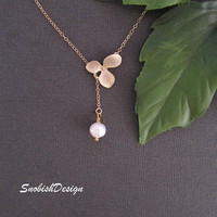 Orchid Jewelry  Gold Orchid Charm  Fresh Water by SnobishDesign