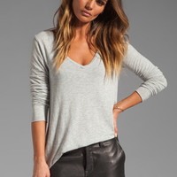 American Vintage Jacksonville V Neck LS Tee in Heather Grey from REVOLVEclothing.com