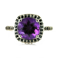 14K Amethyst Ring Black Diamond Halo Engagement Ring Gothic Steampunk Victorian Bridal Jewelry February Birthstone