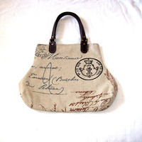 French Script and Crown Handbag Purse Ecru Brown Black