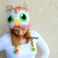 Women's Owl Hat with Earlaps- Owl Beanie Handmade- Fuzzy Pink Owl Hat Ready to Ship