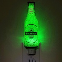 7oz Heineken Jumbo Night Light / Accent Lamp- VIDEO DEMO- Eco LED...&amp;quot;Diamond Like&amp;quot; Glass Crystal Coating on interior.