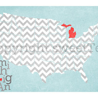 michigan. an art print on metallic paper.