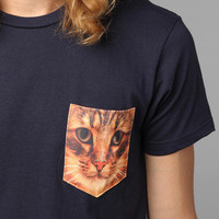 Cat Pocket Tee- Navy