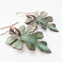 Earrings Leaf Leave Verdigris Green Forest by SimoneSutcliffe