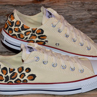 Leopard print on Converse All Stars - Adult size