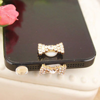 Set/3 Bling Crystal Bow Apple iPhone Home by StudioOrangeStar