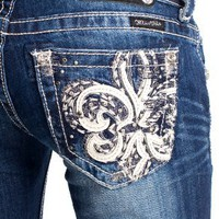 Miss Me Fleur di lis bootcut jeans - up to size 34!