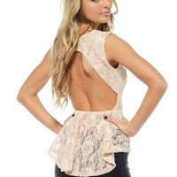 Stone Sleeveless Lace Peplum Top with Open Back