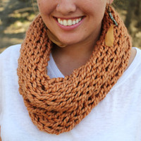 Knitted Tube Scarf in Harvest Peach by KaylaKozy on Etsy