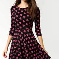 Halle Heart Print 3/4 Sleeve Skater Dress