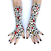 Retro Time Fingerless gloves , arm warmers , mittens -  retro , vintage , victorian , arm warmers , gloves, chic , red , grey , circles