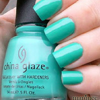 China Glaze Nail Polish Lacquer (70345-Turned Up Turquoise NEON) NEW SHIMMER HOT