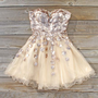 Spool Couture Golden Goddess Dress, Sweet Women's Party Dresses