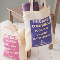 ~$19.00 'this bag contains' gym bag by 3 blonde bears | notonthehighstreet.com