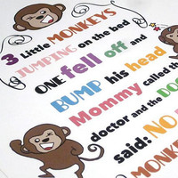 Art for Nursery Nursery Wall Art 3 little monkeys by katikamade