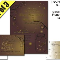 Mason Jar Fireflies Wedding Suite Invitation RSVP And Save-the-Date Digital Printable | Luulla