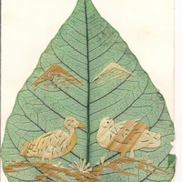 Birds Limited Edition Unique Leaf art Handcrafted by museumshop