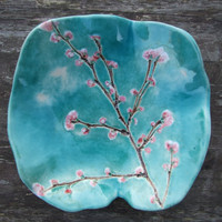 Cherry blossom ceramic bowl with turquoise by damsontreepottery