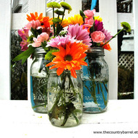 Mason Jar Flower Vases With Frog Lids - Set of 6