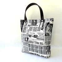Newspaper Tote Bag Printed Fabric by renklitasarimlar on Etsy