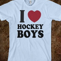 I Love Hockey Boys-Unisex Light Blue T-Shirt