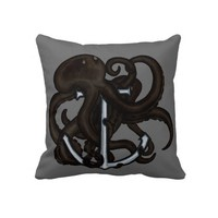 Black Octopus Over Anchor Throw Pillow from Zazzle.com