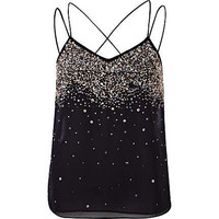 Black embellished multi strap cami top