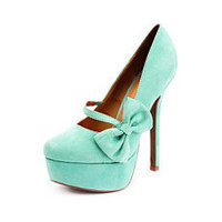 Sueded Side Bow Mary Jane Pump: Charlotte Russe