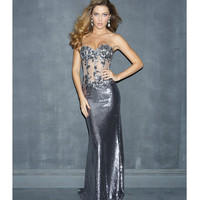Pewter Bead Lace & Sequin Sheer Strapless Prom Dress - Unique Vintage - Prom dresses, retro dresses, retro swimsuits.