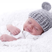 Newborn Baby  Crochet Beanie Hat in Gray Grey by Iovelycrochet