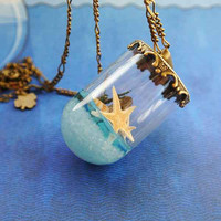 10% SALE Necklace Summer in a Bottle Seastar Blue Beach Sea Sand