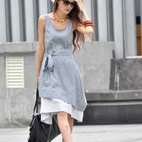 Grey Dress Two Layers Vest Long Sundress Cotton Dress Custom Made - NC008