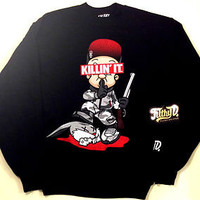 Filthy Dripped Dead Wabbit Camo Killin It Crewneck Sweater Black Army Fatigue